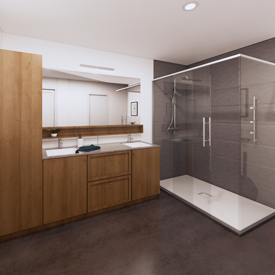 Salle de bain moderne dans un appartement boutique Cloria